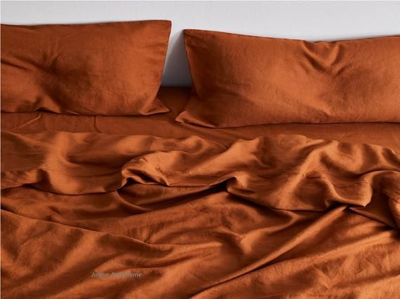 Brunt Orange Color Washed Cotton Duvet Cover Duvet Cover Etsy In 2021 Bed Linen Sets Linen Sheet Sets Orange Bed Sheets