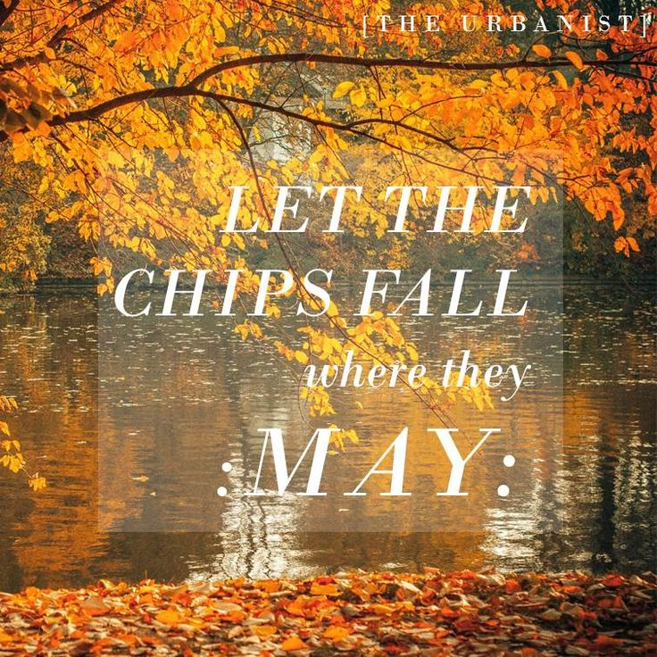 Let the chips fall where they may #quote #TheUrbanist #fate #destiny