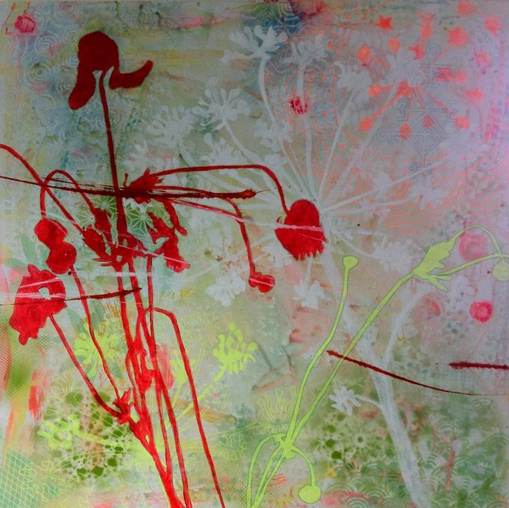 Creative summer part I - acrylic and spray painting on canvas. 100x100 cm
