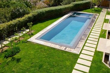 Pacific Palisades Paradise modern pool. pool and spa same width. full length seat