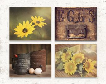 Country Kitchen Decor, Rustic Kitchen Wall Decor, Set of FOUR Prints or Canvases, Kitchen Wall Decor, Yellow Kitchen Art Set, Rustic Art