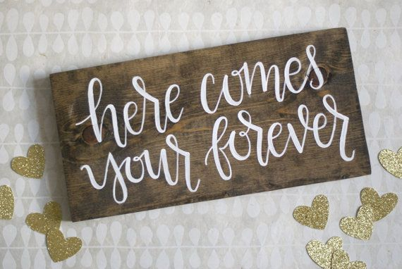 Here Comes Your Forever Ring Bearer Sign - Hand Lettered Calligraphy