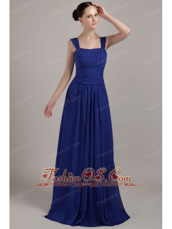 Royal Blue Empire Square Brush Train Chiffon Ruch Bridesmaid Dress-  http://www.fashionos.com  http://www.facebook.com/fashionos.us  You don't have to be a movie star to dress like one. This gorgeous dress makes it easy to get that red carpet look. It features a sleeveless bodice which is decorated with vertical ruches in the bust and aclinic ruches in the waist.