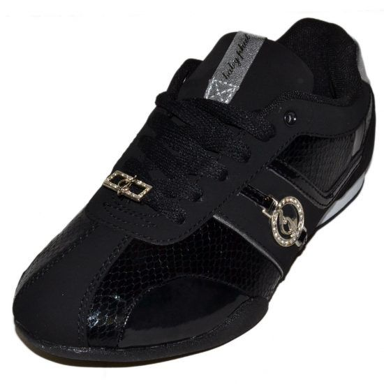 Baby Phat Hayden Womens Black Silver Shoes
