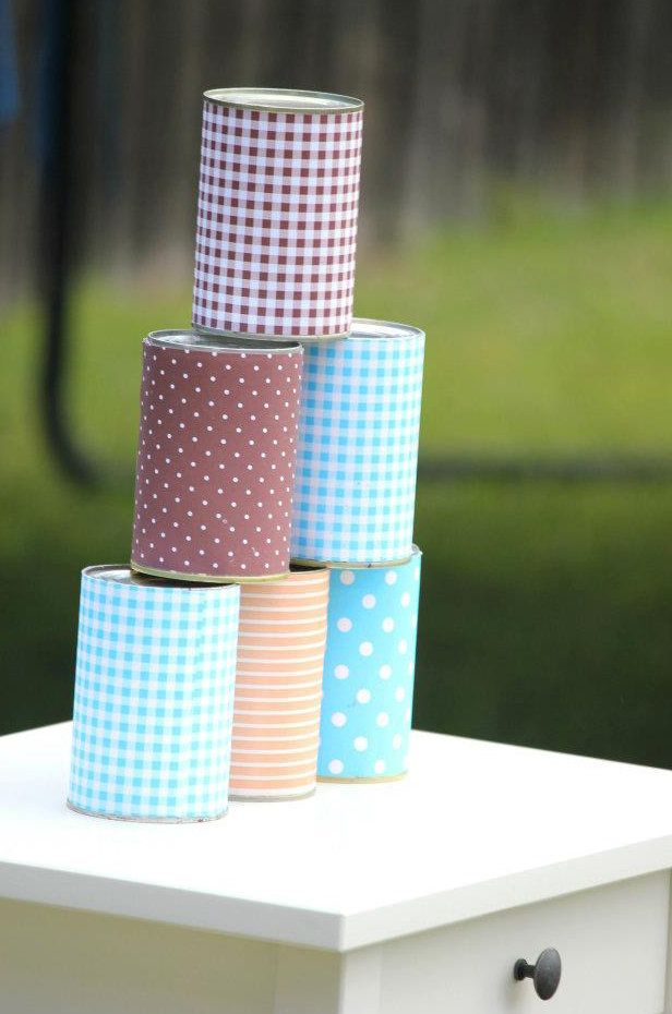 At an outdoor party, have kids play games like knock the cans. Cover cans in fabric to spice them up!