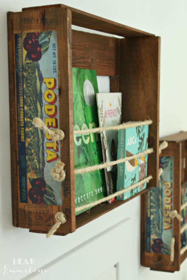 DIY Wall Hanging Fruit Crate Bookshelves