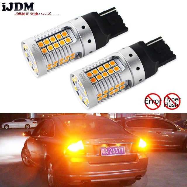 Ijdm Car 7440 Led No Hyper Flash Amber Yellow 48 Smd 3030 Led W21w T20 Led Bulbs For Turn Signal Lights Canbus Error Free 12v Review Led Bulb Bulb Led