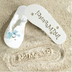 Just Married Flip Flops - Stamp Your Message in the Sand! @Mayura