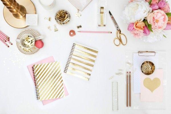   Kate Spade   Nate Berkus @ Target   Russell + Hazel   Glam Decor   Gold Pink   Office Design   Workspace Ideas