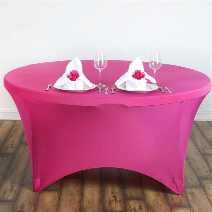 8 Seat Round Spandex Tablecloths-Fushia