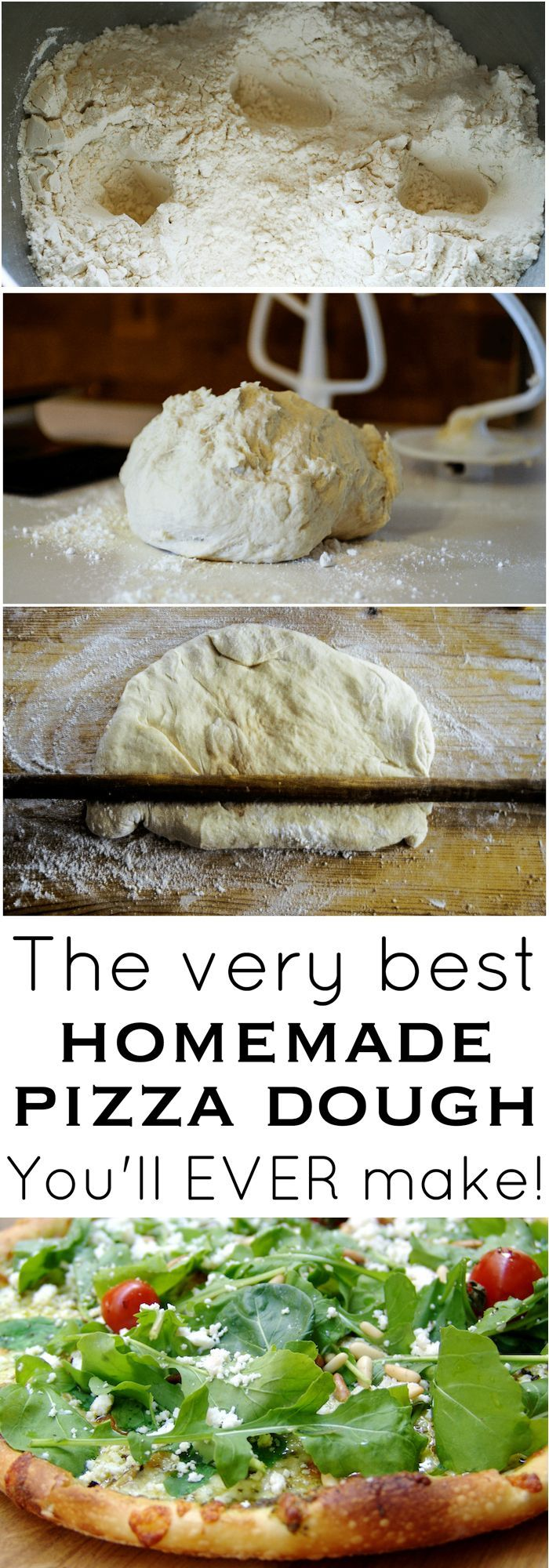 The best homemade pizza dough recipe. It's delicious, easy and makes the perfect pizza crust!