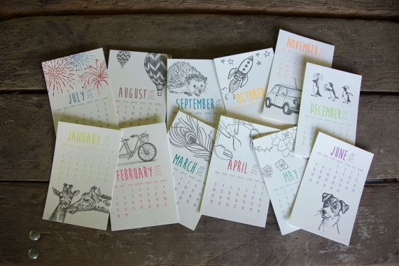 2016 Illustration Collection Desk Calendar hand by ladybugpress