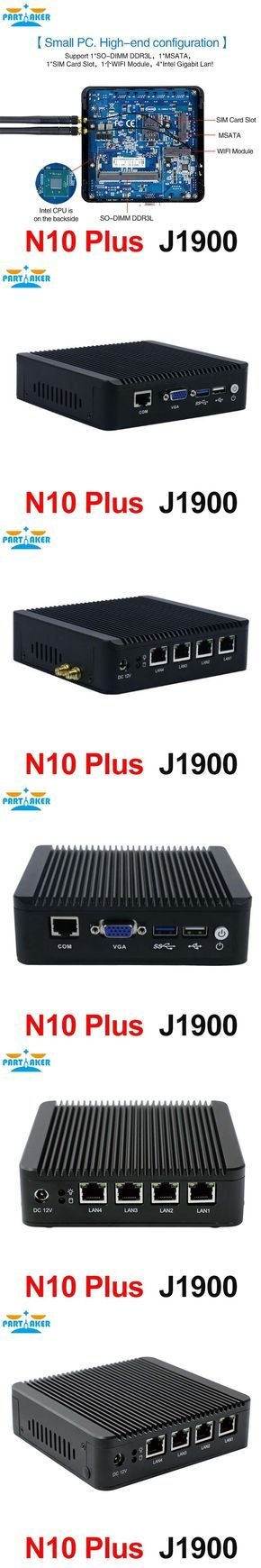 Partaker N10 Plus mini server mini pc j1900 quad core CPU 4 intel lan firewall vpn router support linux pfsense OS and 3G/4G