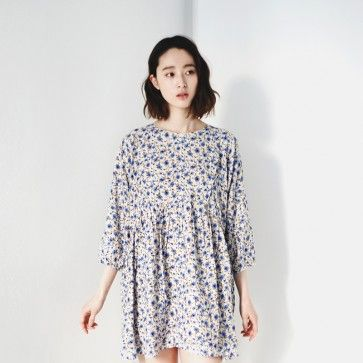[Beyond #Dresses] A #dress featuring a floral print. Round neckline. 3/4 sleeves. Back zipper placket. #Cute and #Trendy #Style. #Floraldress #KoreanDress #KoreanFashion #Asian #cutedress #flowerdress #springdress