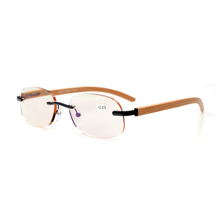 CG1632 Eyekepper Amber Tinted Lenses Computer Readers Reading Glasses Spring Hinges Wood Temple Rimless Computer Glasses