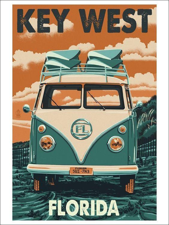Key West, Florida - VW Van Letterpress (9x12 Art Print, Wall Decor Travel Poster) #affiliate