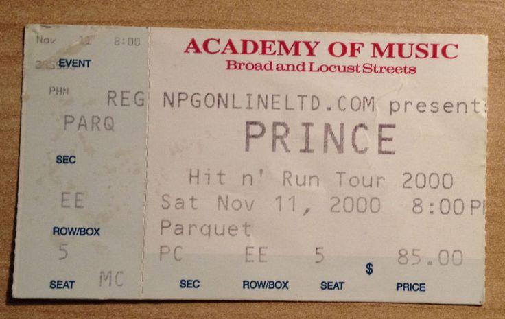 Prince Hit And Run Tour 2000 Ticket Stub Philadelphia Academy Of Music Funk Soul