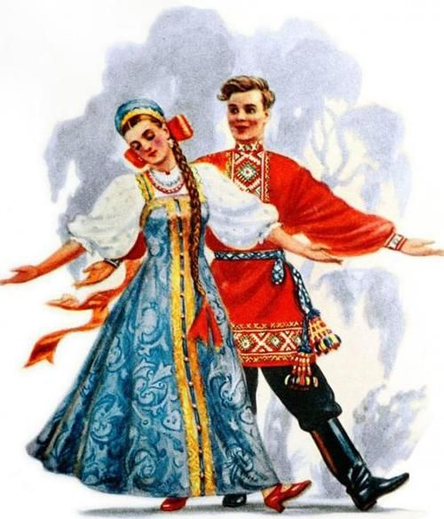 drawing of the traditional dance outfits of russia