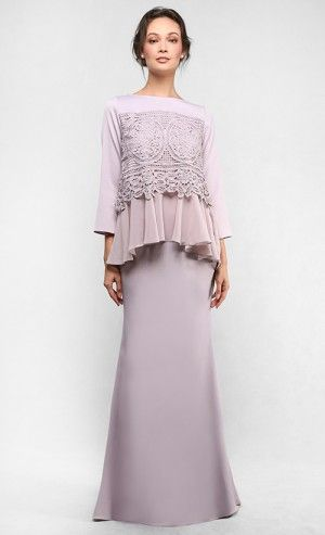 The Lace Kedah Kurung with Gathers in Light Taupe