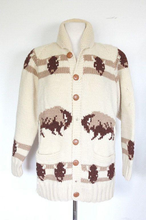 Mary Maxim No. 434 Buffalo sweater jacket by TrueValueVintage