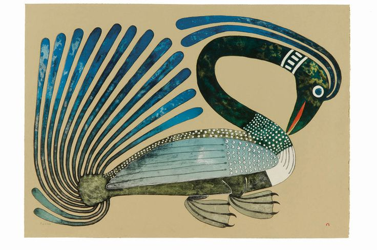 Kenojuak Ashevak - Long Necked Loon 30.125 x 41.75 lithograph edition 50 (Cape Dorset print collection 2008)