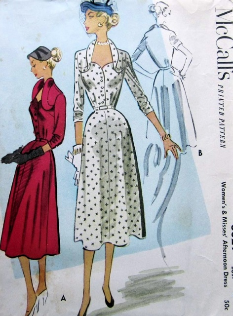 1950s UNIQUE STYLE DRESS PATTERN SWEETHEART NECKLINE, STAND UP CURVED COLLAR PURE SOPHISTICATION McCALLS PATTERNS 8829