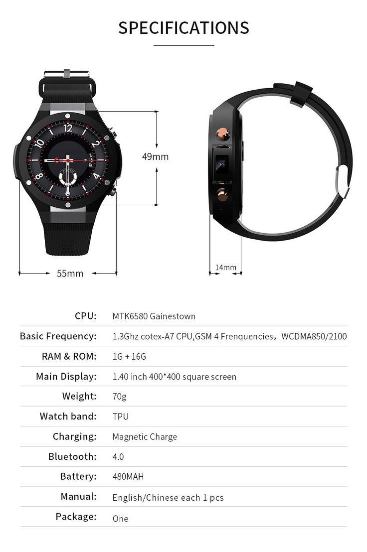 H2 1g16g mtk6580 smartwatch phone 500w camera full screen