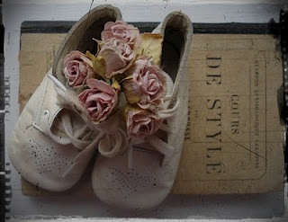 Altered baby shoes: Lost Bird Studio: White Wednesday
