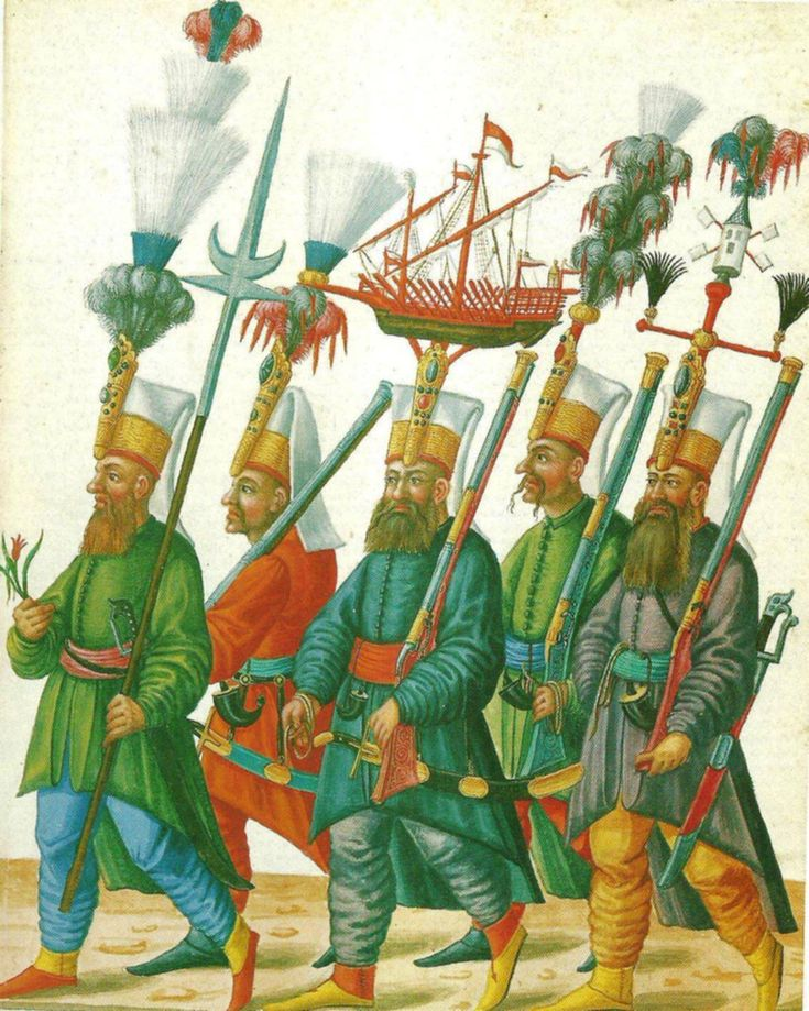 Ottoman Janissaries including ship crest. Janissaries are higher class and are the Sultan's guard.