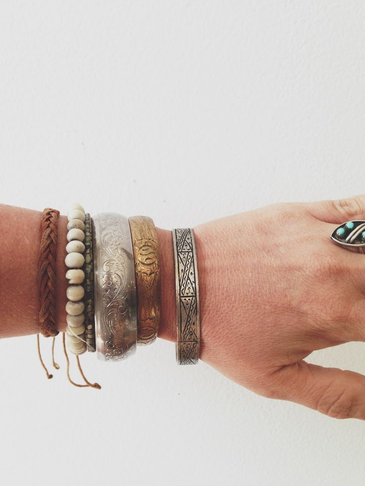 Vintage brass and Mexican silver bangles. Maven Collective, Portland, OR