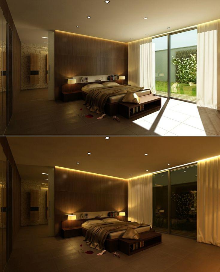 chambre à coucher décorée avec des luminaires LED