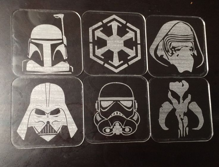 Laser cut and engraved clear acrylic drink coasters. Star Wars theme.