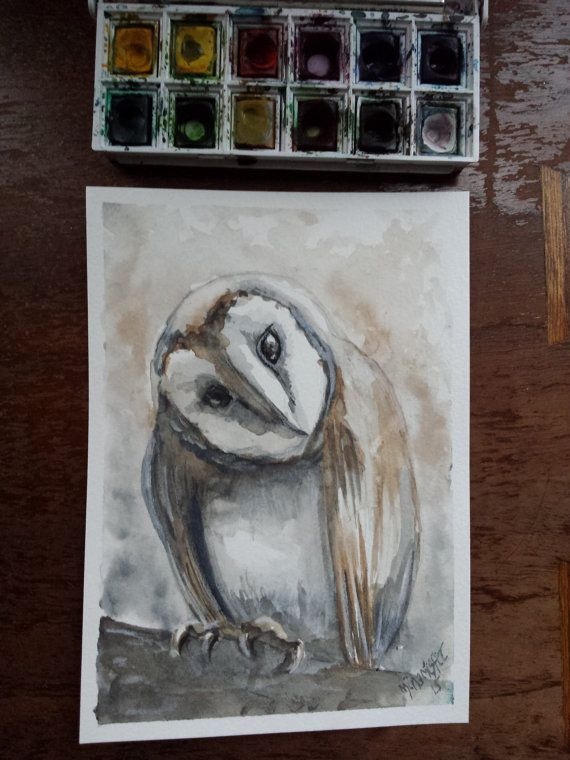 Barn owl watercolor listing at https://www.etsy.com/listing/264039687/barn-owl-watercolor-mina-misfit-original