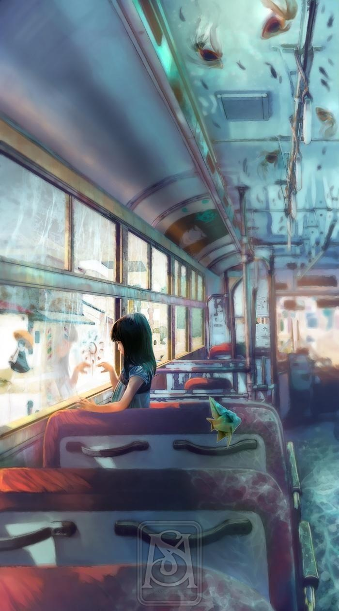 (WR) Auto Bus with a girl longing for something looking out the window.