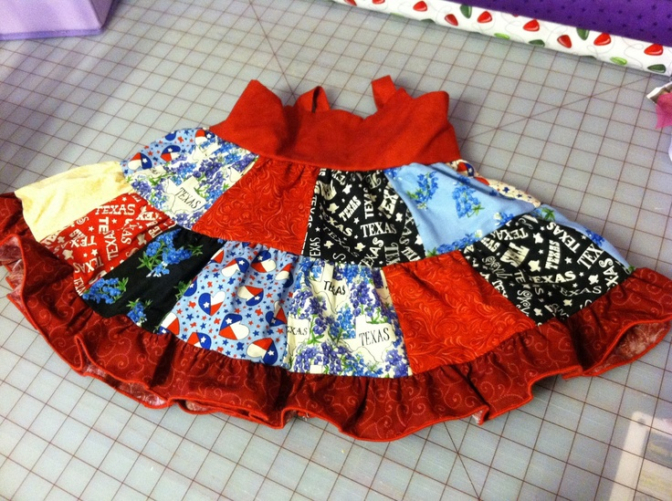 limited edition Texas 2 tier patchwork dress