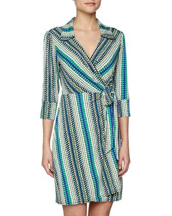 Dotted Stripe Print Wrap Dress, Snapple by Laundry By Design at Neiman Marcus.