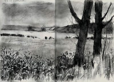 paintings prints and stuff: Charcoal landscape sketch:Across the fields, in a Stillman and Birn Alpha sketchbook with Willow charcoal and Derwent charcoal pencil