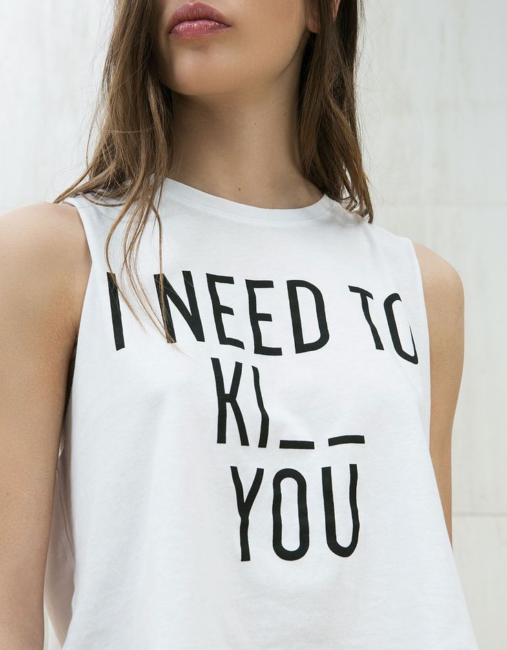 'Palms/ I need to' print cropped top. Discover this and many more items in Bershka with new products every week