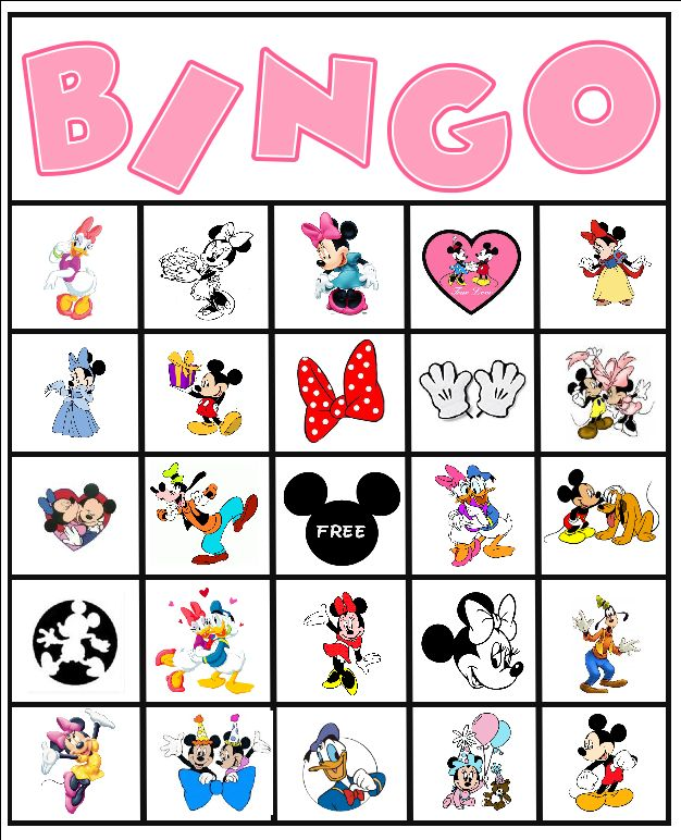 Free Minnie Mouse Disney Bingo Party Printable #free #bingo #minnie