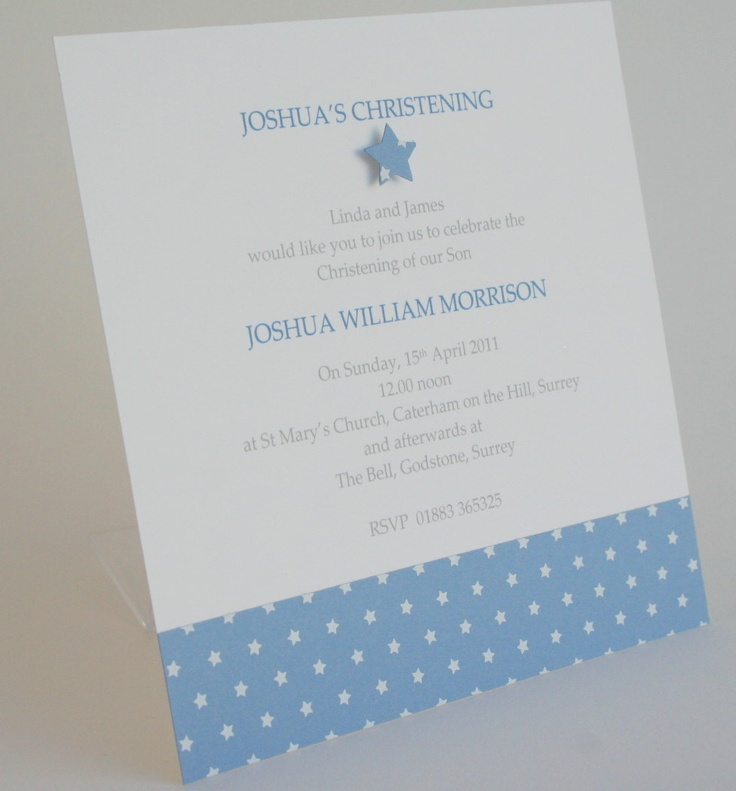 Christening or Naming Day invitation Star