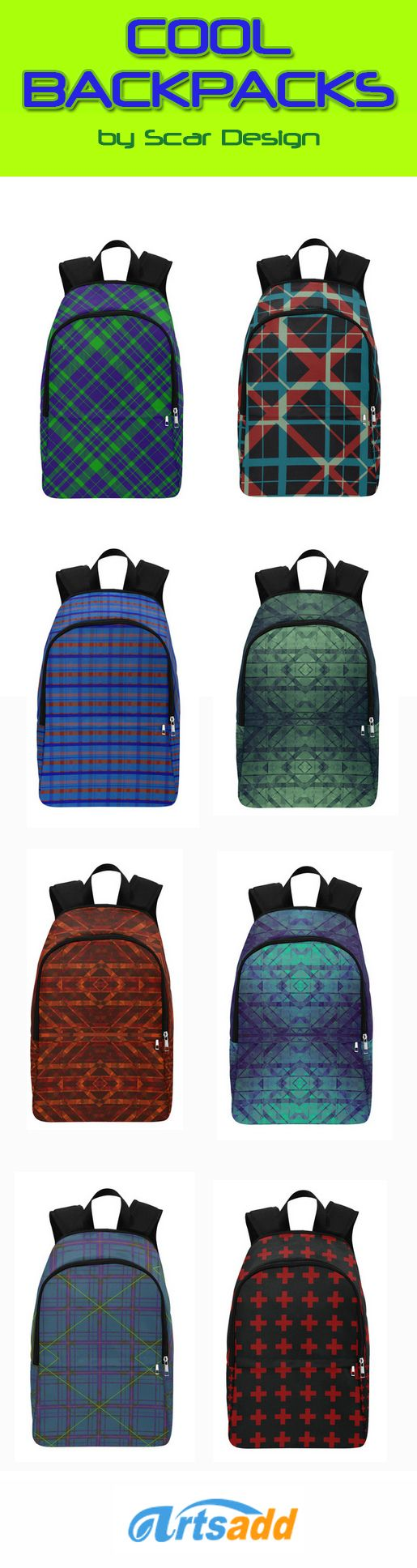 Cool Backpacks by Scar Design by Scar Design  #plaid #plaidbackpack #rdesign #modernbackpack #modern #backpack #modernbackpack #buybackpack #giftsforhim #giftsforher #coolbackpack #artsadd #scardesign #scifidesign #modernstyle