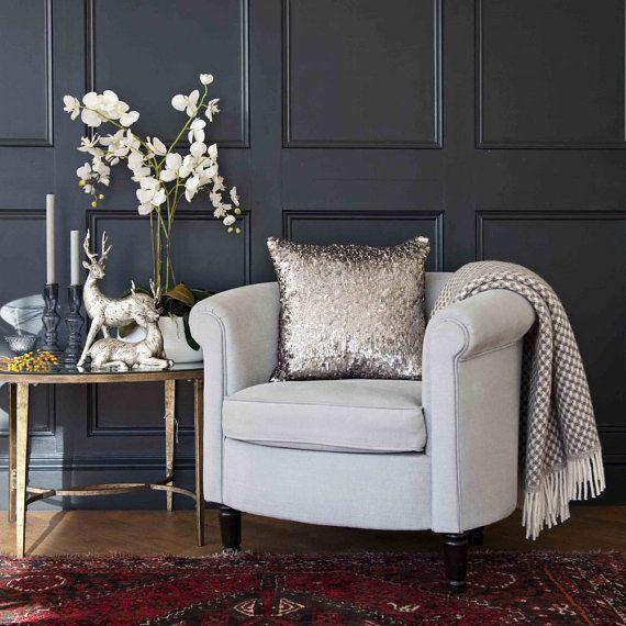 Sequin Metallic Throw Pillow Cover / Cushion by SparklePonyShopp