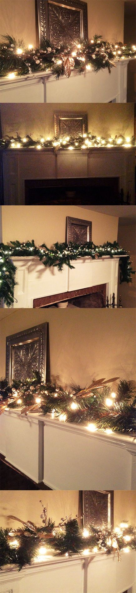 Christmas Garland, White & Silver Berries, Silver Leaf Garland, Mantle Garland with Lights, Christmas Decor, Fireplace Swag, Doorway Garland $45.00+