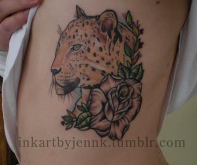 Leopard Print Tattoos On Ribs
