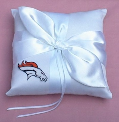 Denver Broncos Ring Bearer Pillow Wedding Football