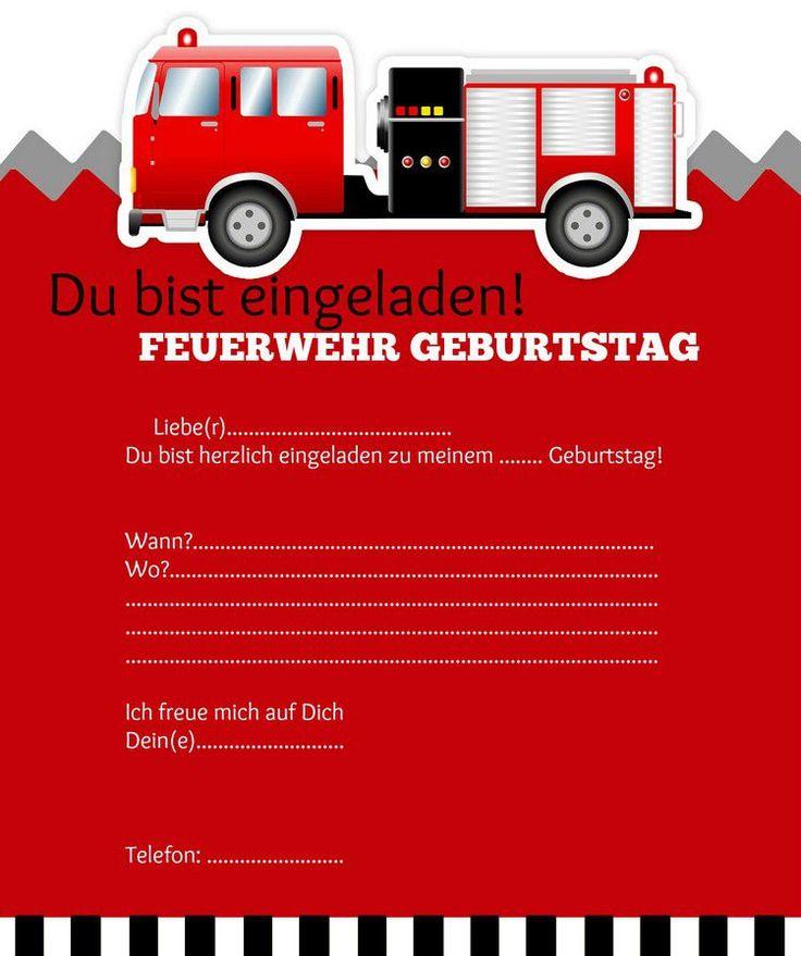 Einladungskarte Kindergeburtstag Feuerwehr Basteln | EINLADUNGEN GEBURTSTAG  | Pinterest