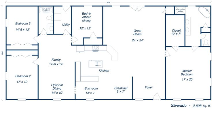 Steel Homes Houston | Models & Floor plans..I like, but to big, have Chris shrink extra family room off & put 2nd bath in-between the 2 bedrooms, move laundry behind kitchen.