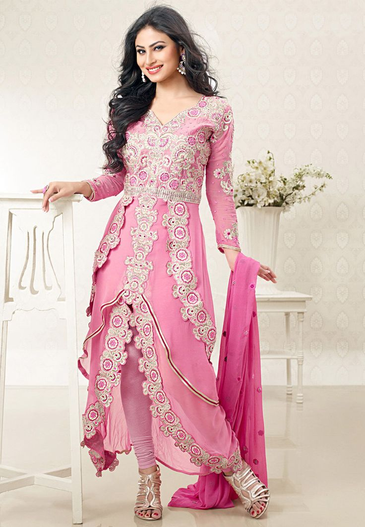 Pink Faux Georgette Asymmetric Churidar Kameez: KAH103