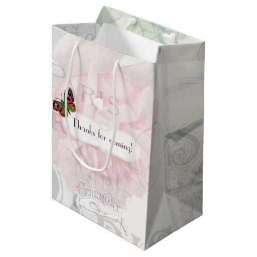 Paris Wedding Vintage Shabby-Chic Pink Rose Custom Medium Gift Bag