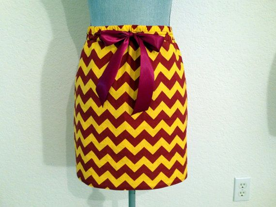 FSU Colors Garnet and Gold Chevron Print Straight Short Skirt on Etsy, $38.00
